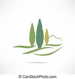 crescente, campo, albero, icona