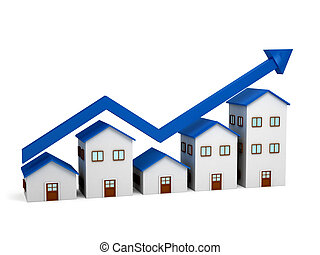 crescente, case, sopra, grafico, 3d