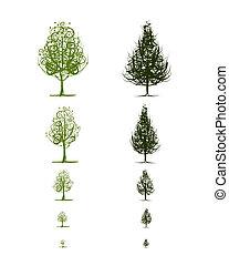 crescente, disegno, palcoscenici, albero, tuo