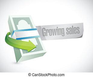 crescente, disegno, vendite, illustrazione, segno