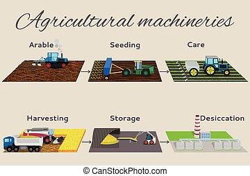 crescente, items:, storege, processo, infographics, illustrazione, crops., desiccation., raccolta, arabile, 6, cura, semina, raccolta