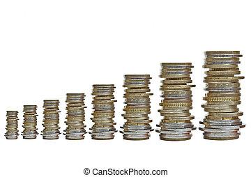 crescente, monete, vario, mucchi