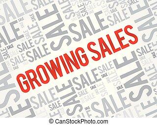crescente, parola, vendite, nuvola
