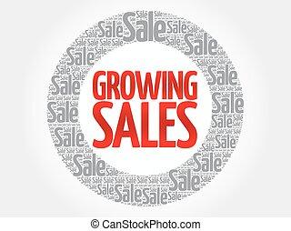 crescente, parole, vendite, nuvola