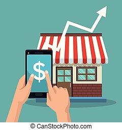 crescente, vendite, negozio