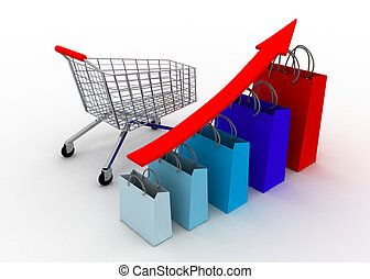 crescere, grafico, carrello, vendite