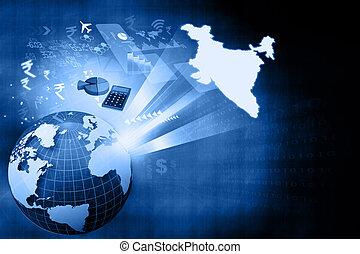 crescita, indiano, finanziario, economia