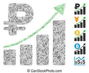 crescita, lineetta, icona, rouble, tendenza, collage