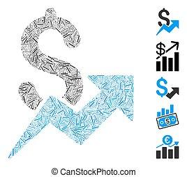 crescita, lineetta, icona, vendite, collage