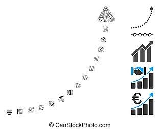 crescita, lineetta, linea, punteggiato, icona, collage