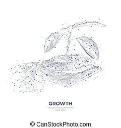crescita, polygonal, disegno, mano, concetto, astratto