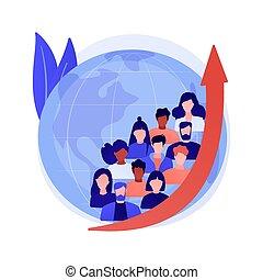 crescita, popolazione, illustration., vettore, concetto, astratto