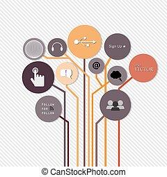 crescita, sagoma, albero, numerato, usato, linee, infographics, disegno, concetto, vettore, idea, sito web, disinserimento, bandiere, orizzontale, grafico, moderno, illustrazione, essere, disposizione, creativo, o, lattina