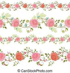 crisantemi, profili di fodera, isolato, collezione, seamless