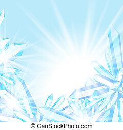 cristalli, sfavillante, ghiaccio