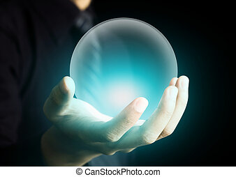 cristallo, ardendo, palla, tenendo mano