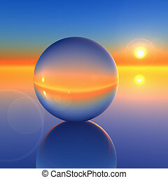 cristallo, astratto, palla, futuro, orizzonte