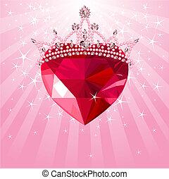 cristallo, radiale, cuore, corona