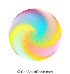 cristallo, sfera, illustration., vetro, spirale, 3d, forma, toy., saltare, gomma, astratto, vettore, palla, gioco, dentro, turbine, variopinto, luminoso, gel