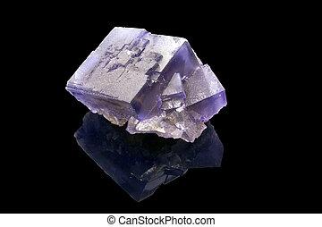 cristallo, sopra, fluorite, fondo, nero