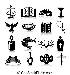 cristianesimo, set, nero, icone