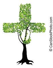 cristiano, albero, croce