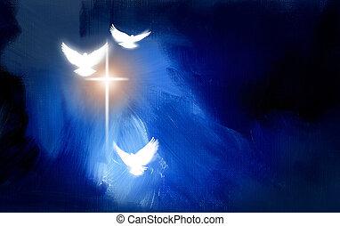 cristiano, ardendo, colombe, croce