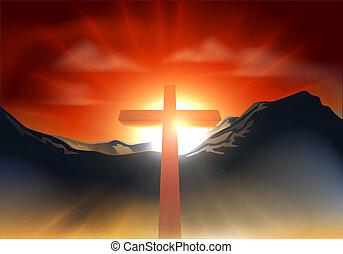 cristiano, concetto, pasqua, croce