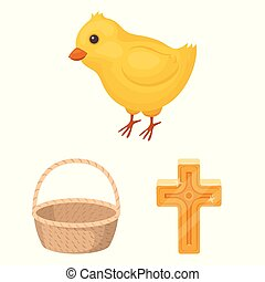 cristiano, design., vettore, vacanza, cartone animato, set, web, pasqua, casato, collezione, attributes, simbolo, icone, illustration.