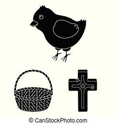 cristiano, design., vettore, vacanza, nero, set, web, pasqua, casato, collezione, attributes, simbolo, icone, illustration.