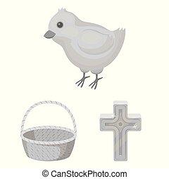 cristiano, design., vettore, vacanza, set, web, pasqua, casato, collezione, attributes, monocromatico, simbolo, icone, illustration.