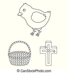cristiano, design., vettore, vacanza, set, web, pasqua, casato, contorno, attributes, collezione, simbolo, icone, illustration.