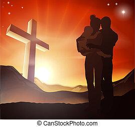 cristiano, gruppo, croce, famiglia