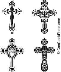 cristiano, icone, ornare, croce