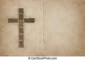 cristiano, libro, vecchio, croce