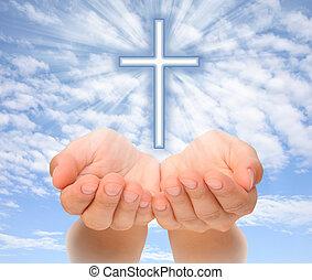 cristiano, luce, sopra, mani, cielo, croce, presa a terra, raggi