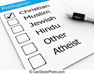 cristiano, maggiore, ebreo, -, musulmano, indù, religioni, altro, atheist, mondo