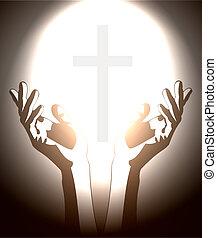 cristiano, silhouette, croce, mano