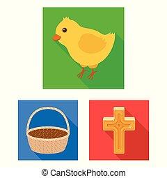cristiano, vettore, vacanza, illustration., appartamento, set, web, pasqua, casato, collezione, attributes, simbolo, icone, design.