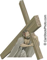 cristo, crocifissione, portamento, croce