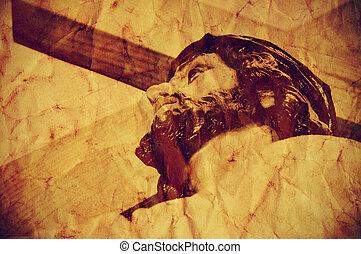 cristo, santo, effetto, gesù, croce, portante, retro