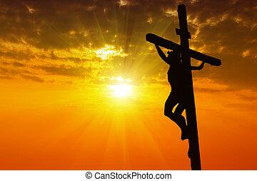 cristo, silhouette, gesù, crocifissione, croce