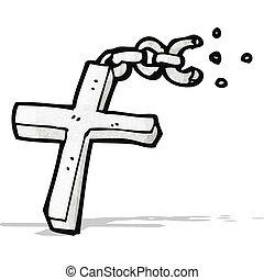 croce, argento, cartone animato