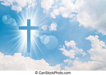 croce, cielo luminoso, cristiano, appare