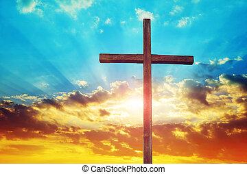 croce, cristiano, legno, sunset.