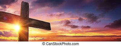 croce, crocifissione, gesù, tramonto, -, legno