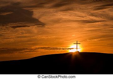 croce, dietro, sole