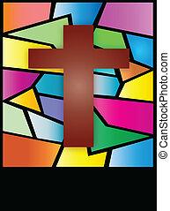 croce, finestra, macchi-vetro