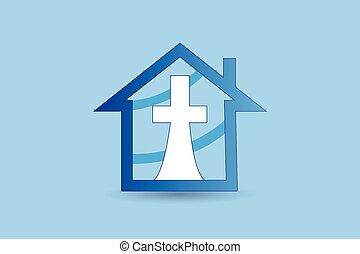 croce, grande, logotipo, chiesa