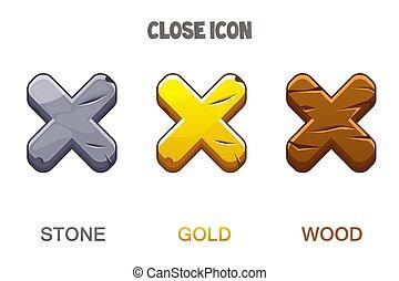 croce, legno, set, dorato, pietra, chiudere, icone, mark.
